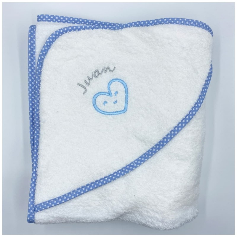 Capa de Baño Corazón Azul con personalizacion bordada