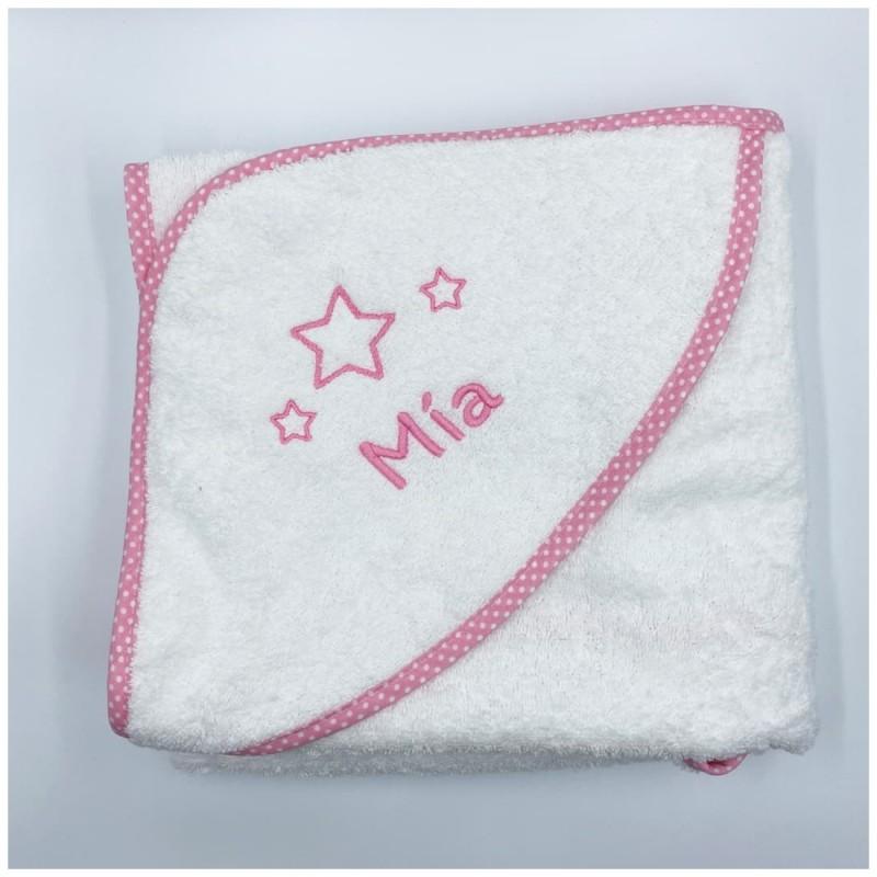 Capa de Baño Estrellas Rosa con personalizacion bordada