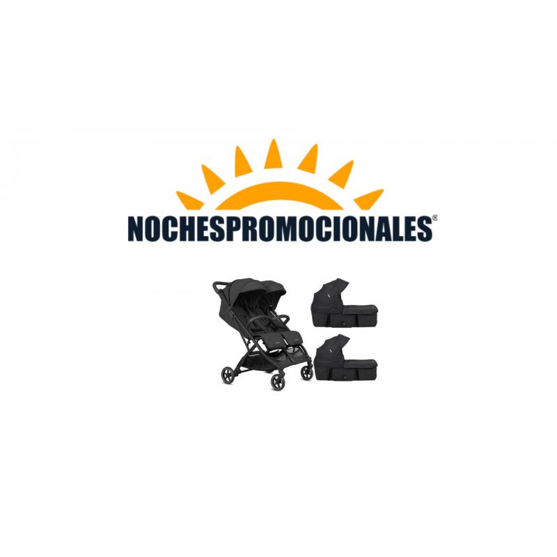 Cochecito Gemelar Tour Twin Negra
